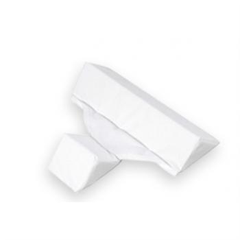 het driehoekige zijligkussen van babyjem. wit, zonder kindje er op