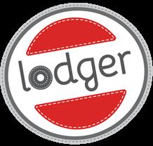 Een rondje met daarin een rood vlak en het woord Lodger in ronde speelse letters. Ook is het rondje niet helemaal rond maar lichtelijk ovaal.