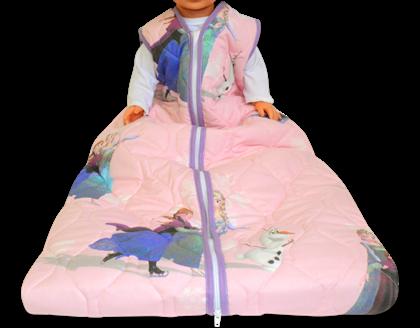 """beste babyslaapzak is hier niet helemaal op zijn plek. op de afbeelding zie je een slaapzak van een wat ouder kind (ongeveer 5 jaar) met daarop """"frozen"""""""