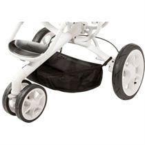 Een kinderwagen met drie wielen