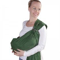 Een babysling is een doek die je om je schouders kunt dragen, hierdoor kun je de baby voor je gepositioneerd in een liggende houding.